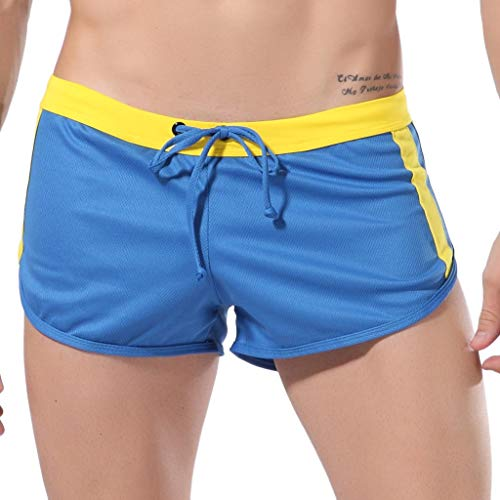 Sunyastor Shorts for Men Fashion Striped Bandage Loose Casual Summer Sports Short Pants Drawstring Beach Shorts Blue