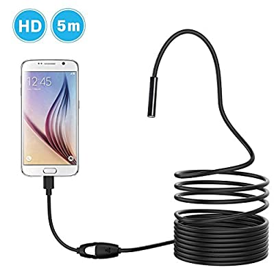 Napoer 5M Cable 7mm Android Smartphone EndoscopeWaterproof OTG Micro USB Borescopes Inspection Camera with 6 LED
