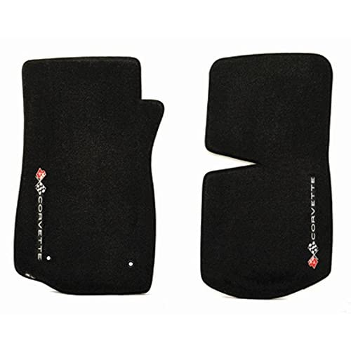 1968-1982 C3 Corvette Classic Loop Black Front Floor Mats Set with Crossed Flags & CORVETTE Logo Facing Door Sill free shipping