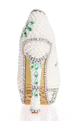 Women's Party Heel TDA Glossy White Pearl Pumps 14cm Stiletto Wedding Dress Charming gdw4qF