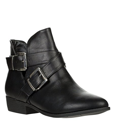 Breckelles Bronco-11 Chunky High Heel Buckle Ankle Booties Boots