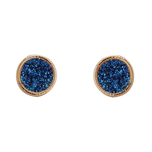 (Humble Chic Simulated Druzy Studs - Gold-Tone Dainty Round Circle Simple Minimalist Tiny Crystal Post Ear Stud Earrings for Women, 11mm Blue, Simulated Sapphire, Simulated Tanzanite)