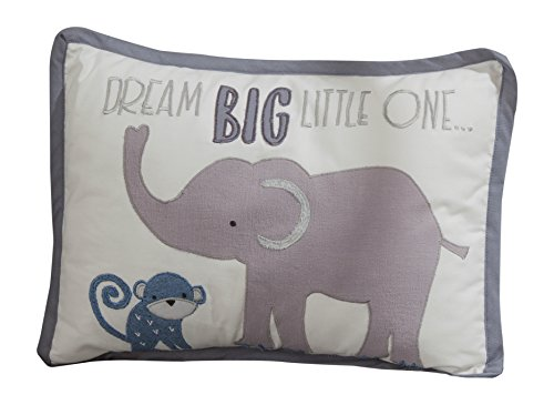 Lambs & Ivy Animal Crackers Jungle Decorative Pillow, Gray/Blue