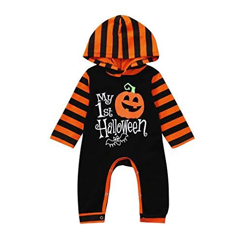 Infant Toddler Baby Girls Boys Costume, Happy Halloween Pumpkin Hoodie Romper Cartoon Stripe Jumpsuit My First Halloween (Black, 12-18 Months) -