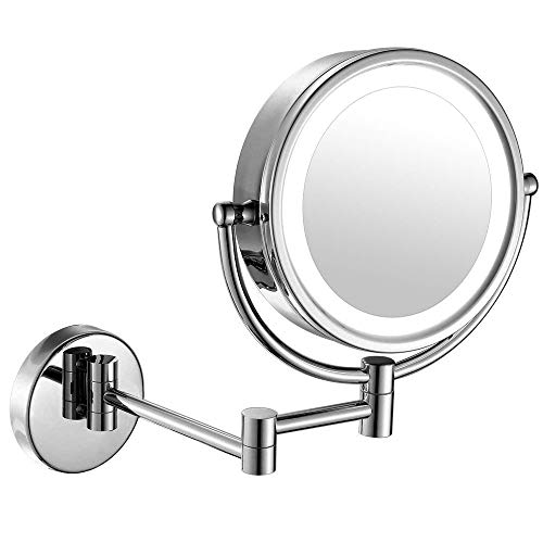 (moon moon 7-Inch LED Lighted Wall Mount Makeup Mirror with 5x Magnification,Double-Sided Lighted Makeup Mirror)