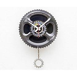 Recycled Bike Gear Clock, Wall clock, upcycled bike gift, modern wall clock, pendulum clock, Christmas gift, 45 record clock, cycling enthusiast gift, Steampunk clock, bike parts clock