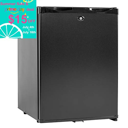 SMAD 12V Compact Mini Fridge Quiet No Noise Refrigerator with Lock 40L 1.4 cu.ft, Black (40l Fridge)