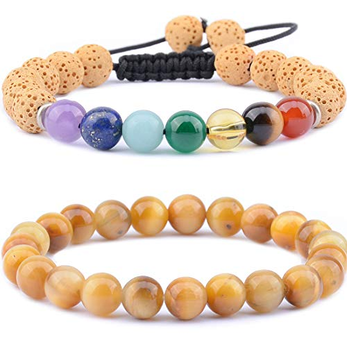 (Massive Beads 7 Chakra & Lava Rock Rock Stone Plus Gold Tiger's Eye Aromatherapy Essential Oil Diffuser Bracelets - Natural Semi Precious Gemstone Beads Healing Crystal Bracelet)