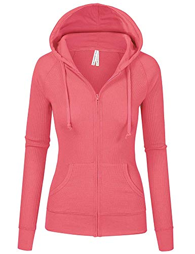 Zipper Knitted - TL Women's Comfy Versatile Warm Knitted Casual Zip-Up Hoodie Jackets in Colors 35_PINK L