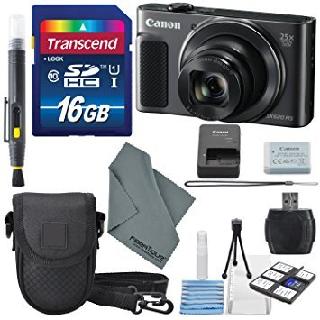 - Canon PowerShot SX620 HS Digital Camera (Black) along with 16GB, Deluxe Accessory Bundle and Cleaning Kit