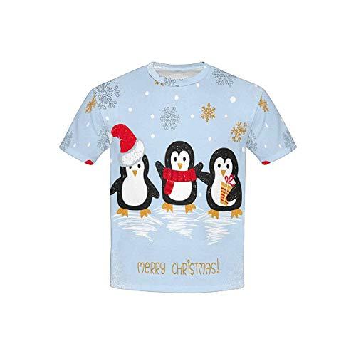 InterestPrint Merry Christmas Cute Doodle Penguin Kids' T-Shirt S by InterestPrint
