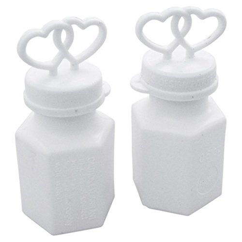 300 Elegant Double Heart Wedding Bubbles with Wands White Bubble by Darice