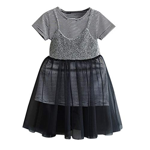 MOGOV Toddler Kid Baby Girl Summer Leisure Outfits Clothes Stripe T-Shirt Tops+Sling Tulle Princess Dress -