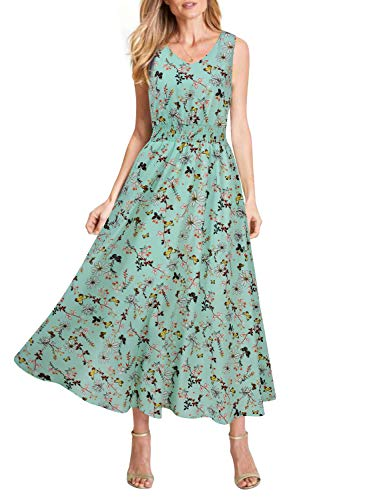REPHYLLIS Women Summer Chiffon V Neck Vintage Print Floral Maxi Beach Long Dress(Light Green Floral,S)