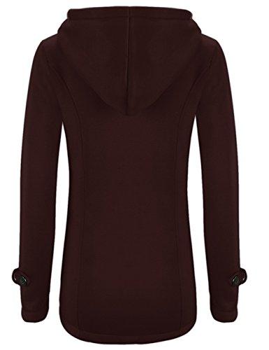 con Parka Abrigo Pullover Chaqueta Coat de Pea Casual Mujer LooBoo Invierno Capa Sudadera Lana Vino Capucha Rojo Jacket OnwEX7x