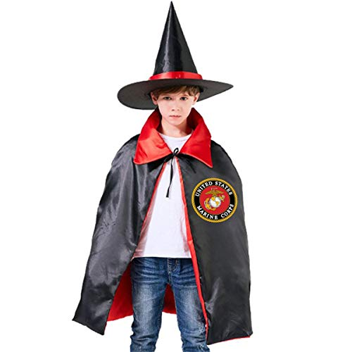 Halloween Children Costume United States Marine Corps Wizard Witch Cloak Cape Robe And Hat -