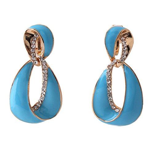 Grace Jun Large Gold Plated Rhinestone Enamel Clip on Earrings Non Piercing for Women Statement Earrings (Sky blue) (Large Clip On Earrings)