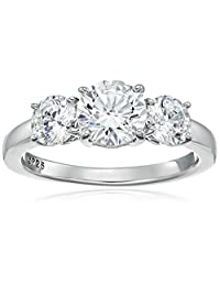 Platinum Plated Sterling Silver Three-Stone Anniversary Ring set with Round Cut Swarovski Zirconia (3 cttw), Size 5