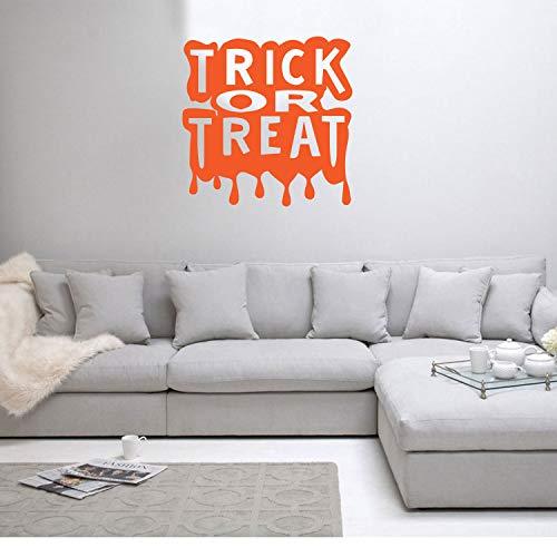 Trick or Treat Halloween Art Decal/Wall Decoration Vinyl Sticker - Orange ()