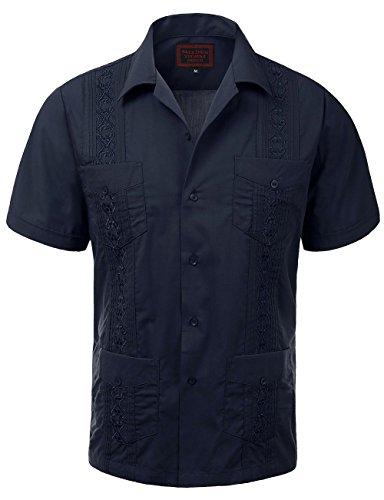 6d0a2277 Maximos Guayabera Mens Haband Cuban Wedding Short Sleeve Button-up Shirt  Navy-l