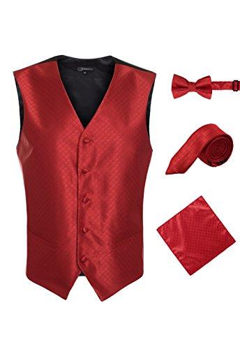 Ferrecci Men's 4 Piece Formal Diamond Pattern Vest Solid (Vest Tie)