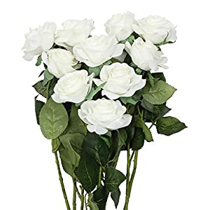 famibay Artificial Rose Bouquets Vantage Fake Silk Rose 10 Heads Flowers with Leaf and Plastic Stem for Home Decoration Wedding Party Garden Hotel White 112