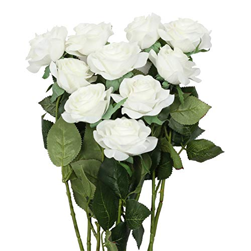 famibay Artificial Rose Bouquets Vantage Fake Silk Rose 10 Heads Flowers with Leaf and Plastic Stem for Home Decoration Wedding Party Garden Hotel White