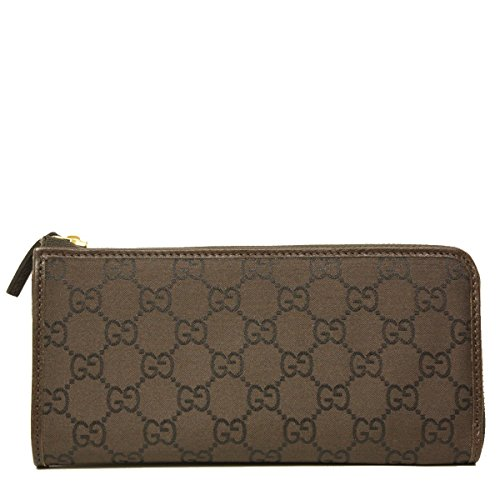 (Gucci Monogram GG Logo Brown Nylon and Leather Zip Around Wallet 268917)