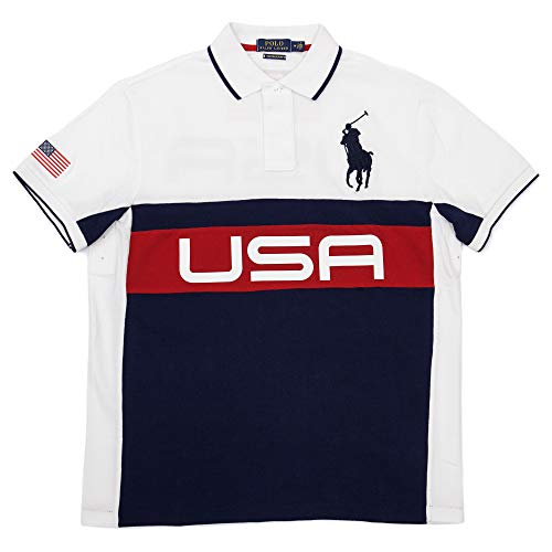 RALPH LAUREN Polo Mens Custom Slim Fit Big Pony Mesh Polo Shirt (Medium,  White 71808dff58