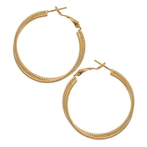 Maayra Dailywear Earrings Alloy Hoops Golden Twisted two-tone Jewellery by Maayra