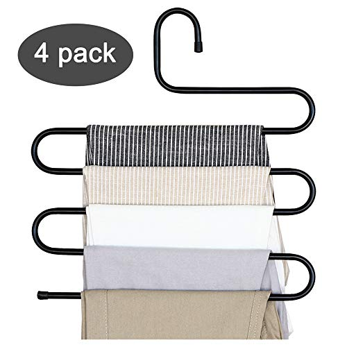 DS Pants Hanger Multi-layer S-style Jeans Trouser Hanger Closet Organize Storage Stainless Steel Rack Space Saver for Tie Scarf Shock Jeans Towel Clothes4 Pack