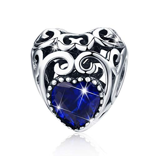BAMOER Sterling Silver Radiant Murano Glass Charms Bead for Charms Bracelet ()