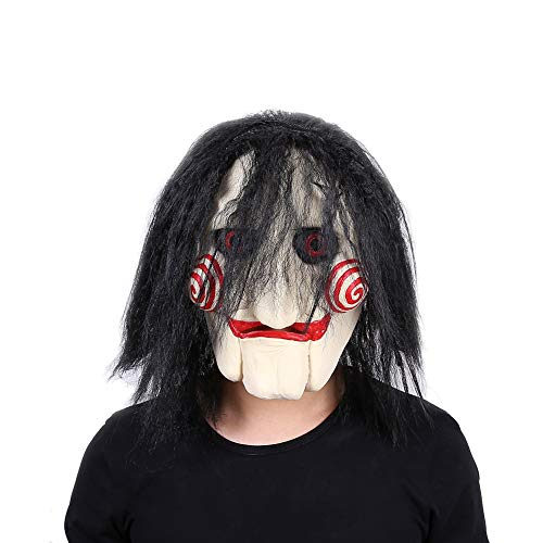Lepy Jigsaw Mask Billy The Puppet Halloween Latex Horror Clown Costume Black -