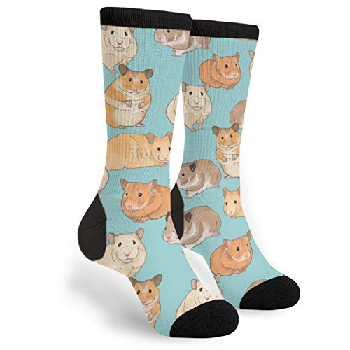 Packsjap Hamsters On Light Blue Men & Women Casual Cool Cute Crazy Funny Athletic Sport Colorful Fancy Novelty Graphic Crew Tube Socks -