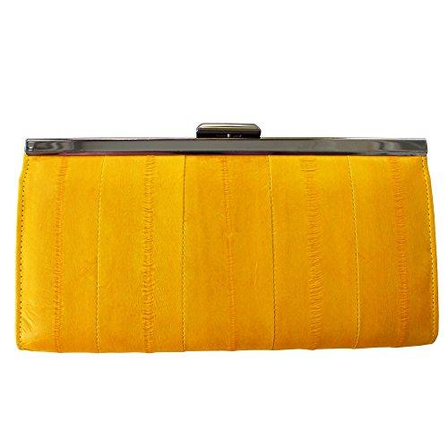 Rainbow Women's Genuine Eel Skin Leather Frame Clutch Wallet (Dark Yellow)