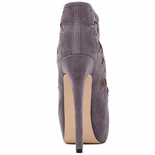 Sexy Partie Bout Gris Talon Glissiere QIYUN Haut Sandales Aiguilles Creuse Nobles Rond Z Fermeture Chaussures Talons Femmes wwqBzpx8