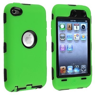 Black Hard / Green Skin Hybrid Case Cover compatible with Apple iPod Touch 4G, 4th Generation, 4th Gen 8GB / 32GB / 64GB - 4 Generation Cases
