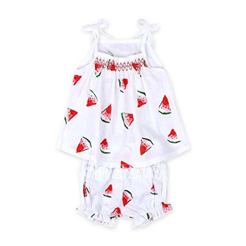 Toraway 2PCS/Set Toddler Kid Baby Girl Watermelon Printed Blouse Tops+ Shorts Pant Outfits Clothes (12 Month, White) ()