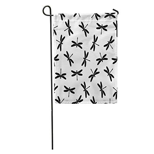 Semtomn Garden Flag Insects Flat Simple Black on White Dragonfly Achromatic Cute Flying Home Yard House Decor Barnner Outdoor Stand 12x18 Inches Flag
