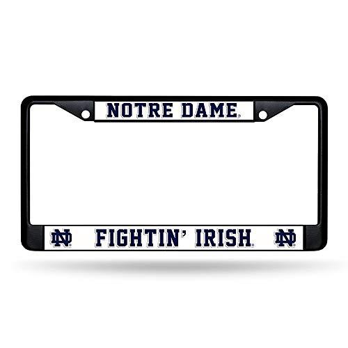 Rico NCAA Notre Dame Black Chrome Frame Sports Fan Automotive Accessories, Multicolor, One Size