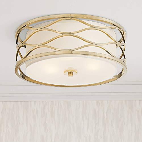 (Austen Modern Ceiling Light Flush Mount Fixture Openwork Plated Gold 16