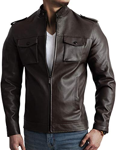 IDARBI Men's Motorcycle Pu Faux Leather Jacket with Removable Hood Brown L