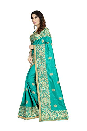 (Indian Sarees for Women Designer Party Wear Traditional Sea Green Sari.)