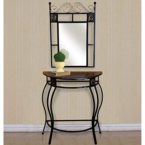(Modern Half-Circle Foyer Entry Mirror and Console Table )