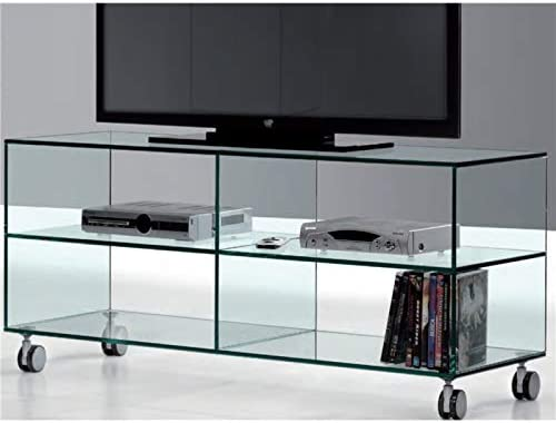 Mesa de Televisión de Cristal con Ruedas Kolet 125 cm: Amazon.es ...