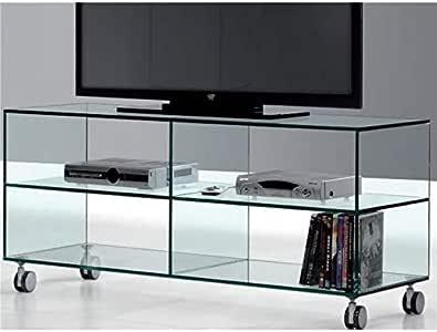 Mesa de Televisión de Cristal con Ruedas Kolet 125 cm: Amazon.es: Hogar
