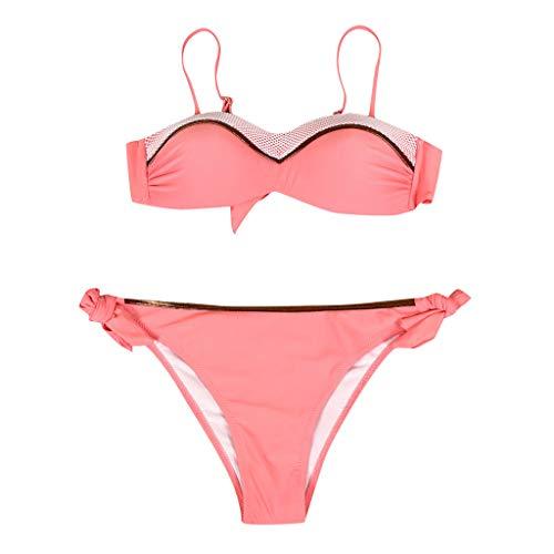 Gojendy Women Sexy Solid Color Two Pieces Swimsuit Spaghetti Bra Top Bikini Set with Tie Side Low Waist Cheeky Bottom (S-US:82, Watermelon Red) - Bottom 70's Side Tie