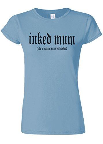 バラ色刃考古学者Inked Mum Is Cooler Novelty Light Blue Women T Shirt Top-XL