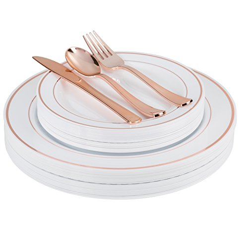 200 Piece Heavyweight Party Disposable Plastic Plates and Cutlery Set Includes 40 Dinner Plates 40 Dessert Plates and 40 Pieces of Glossy Silver Plastic Forks Knives and Spoons (Rose Gold)