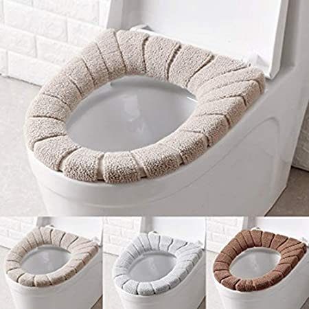 Soft Velvet Washable Bathroom Toilet Seat Filling Soft Warmer Mat Cover Pad Cushion Toilet Cleaning Pad